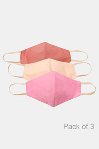 Buy Zivame 3 Layer cotton Face Mask with Inbuilt Filter Pack of 3 - Pink Skin Brick