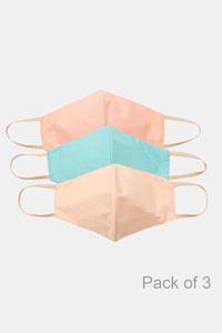 Buy Zivame 3 Layer cotton Face Mask with Inbuilt Filter Pack of 3 - Teal Beige Peach