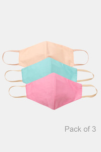 Buy Zivame 3 Layer cotton Face Mask with Inbuilt Filter Pack of 3 - Teal Pink Beige