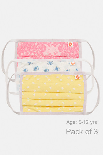 Zivame Kids 2 Layer Printed Pleated Knit Cotton Face Pack of 3   Navy Pink Yellow