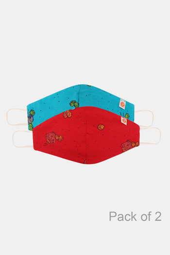 Zivame Kids Reusable 2 Layer Anti microbial Knit Cotton Face Mask Pack Of 2   Red Blue