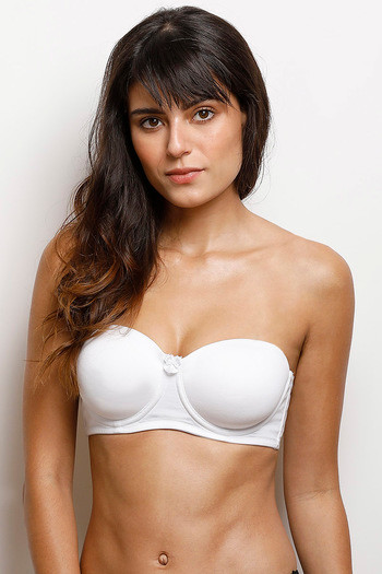 model image of Zivame Padded Underwired Strapless Bra - Snow White