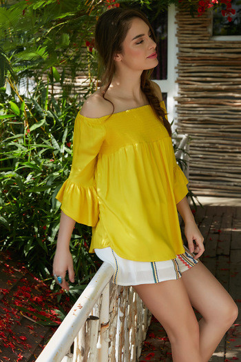 Zephyr Off Shoulder Flared Sleeve Top- Yellow