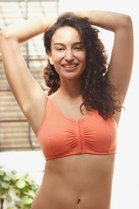 Buy Zivame Cotton Wirefree Darted Cup Front Open Bra- Coral 4f0e95ca3