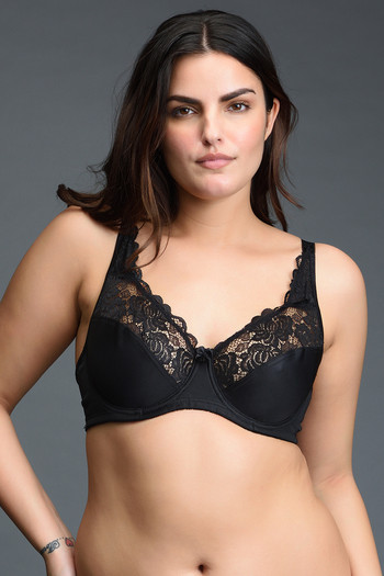 model image of Zivame True Curv Non Padded Wired 3/4th Coverage Super Support Bra-Jet Black