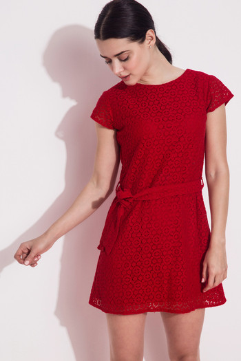 Zivame Hot Red Swoon-light Lace Midi Skater Dress