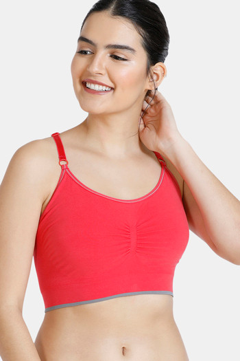 model image of Zivame At Home Double Layered Non Wired 3/4th Coverage Sleep Bra-Scarlet