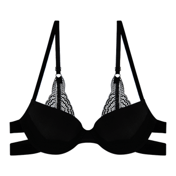 model image of Zivame Anti Dig Lace Touch Moderate Pushup Black Bra