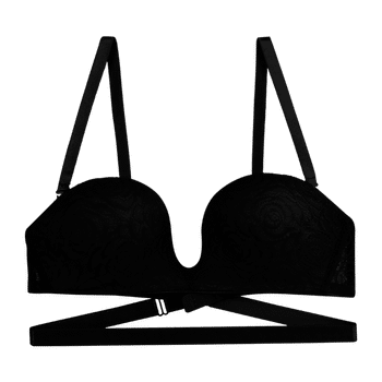 model image of Zivame All That Lace Low Back Converter Strapless Unicup Bra-Black