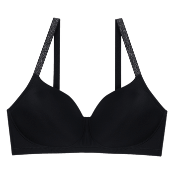 model image of Zivame Glitter Straps Radiance Smooth Padded Wirefree T-Shirt Bra- Black